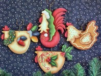 CC106 Funky Christmas Chickens Ornaments